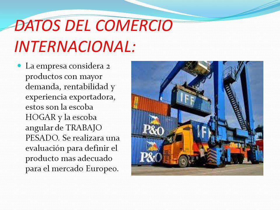 DATOS DEL COMERCIO INTERNACIONAL: La empresa considera 2 productos con mayor demanda, rentabilidad y experiencia exportadora, estos son la escoba HOGA