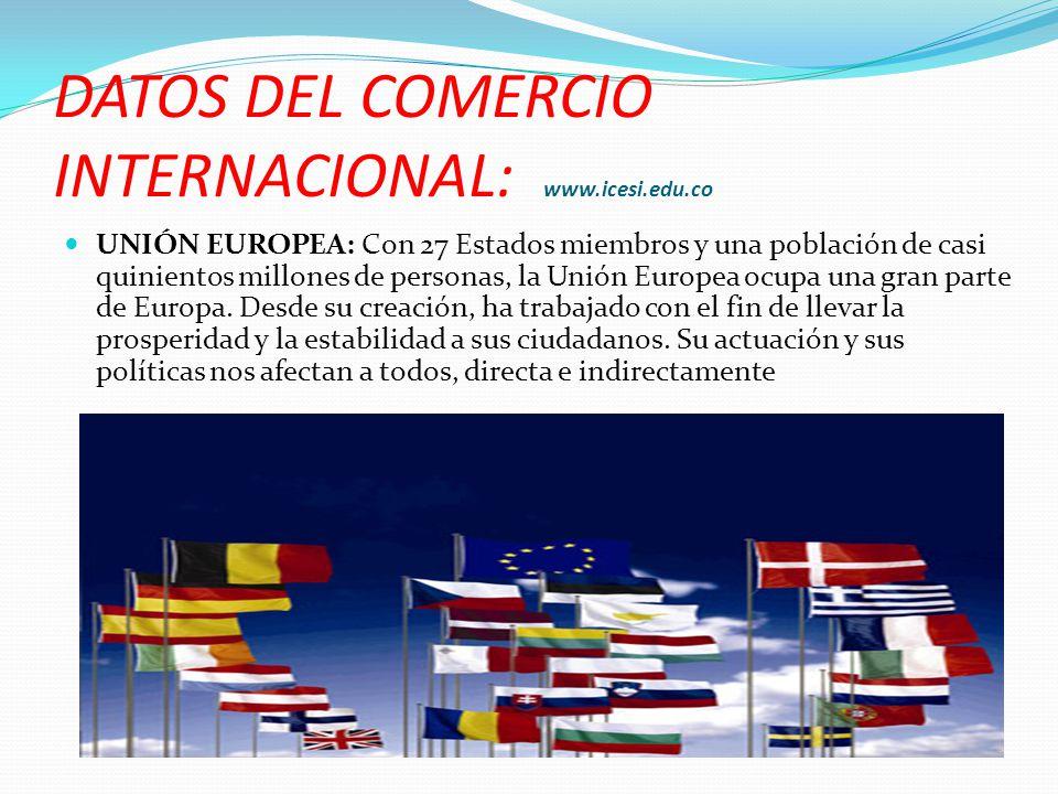 DATOS DEL COMERCIO INTERNACIONAL: www.icesi.edu.co UNIÓN EUROPEA: Con 27 Estados miembros y una población de casi quinientos millones de personas, la