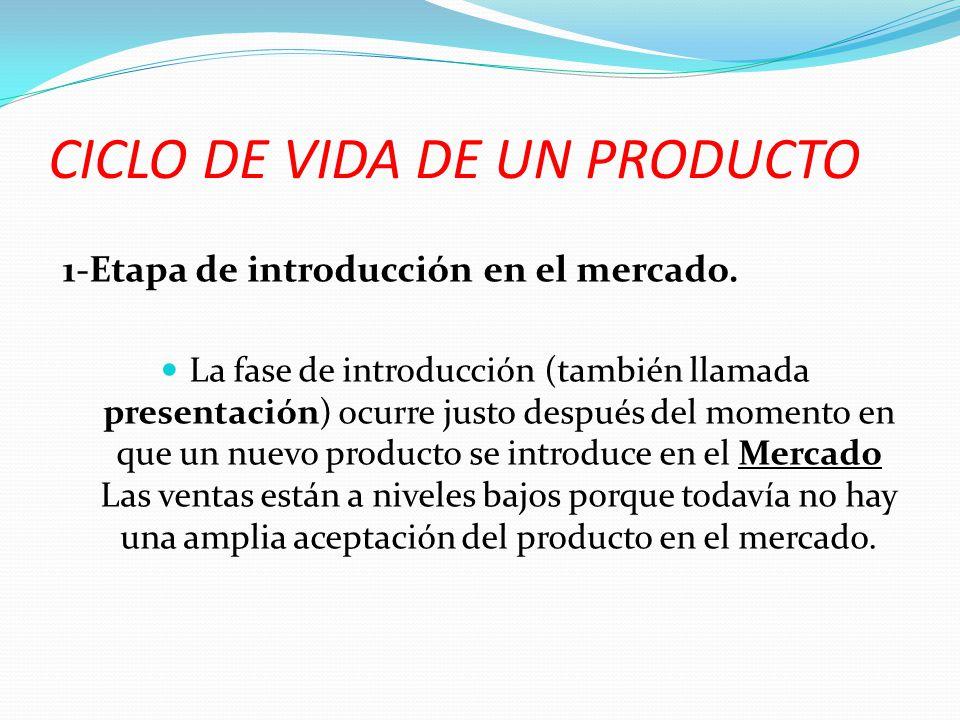 CICLO DE VIDA DE UN PRODUCTO 1-Etapa de introducción en el mercado. La fase de introducción (también llamada presentación) ocurre justo después del mo