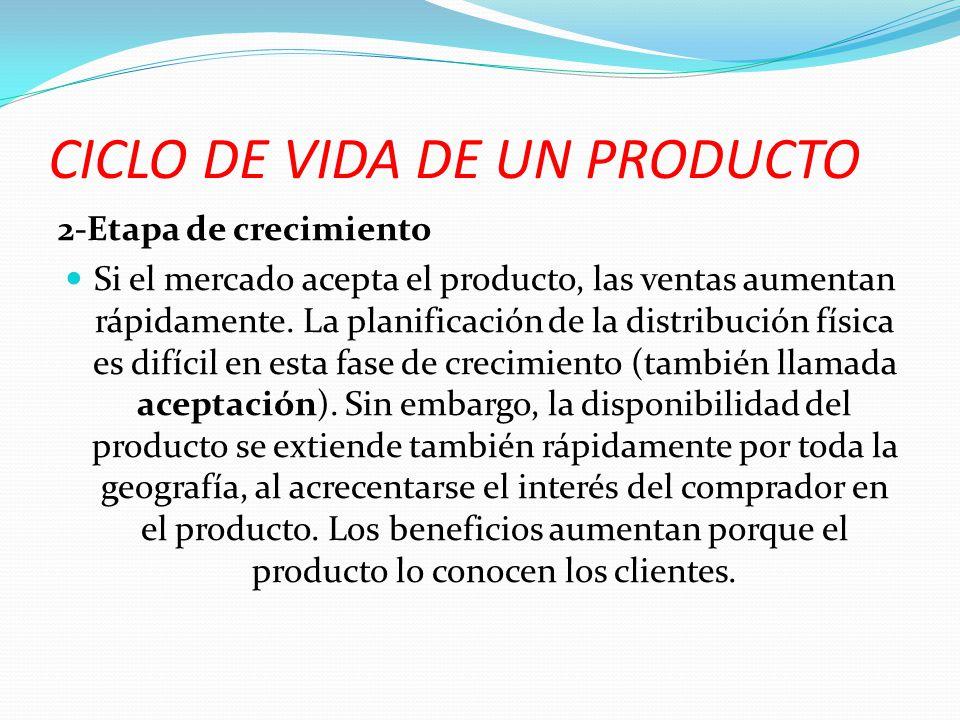 2-Etapa de crecimiento Si el mercado acepta el producto, las ventas aumentan rápidamente. La planificación de la distribución física es difícil en est