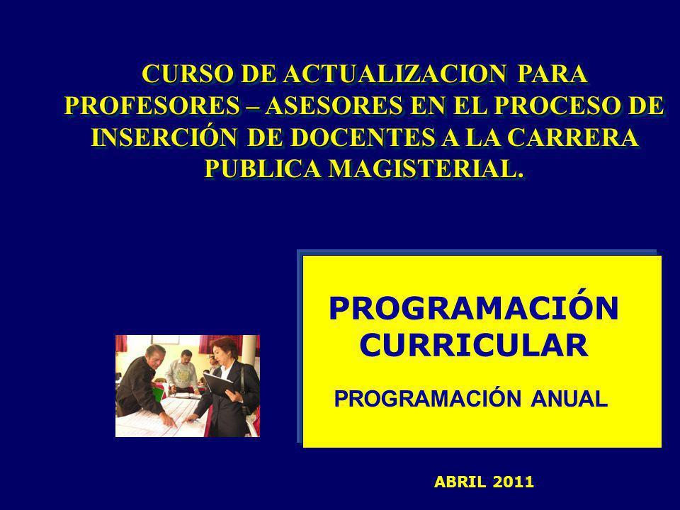PROGRAMACIÓN CURRICULAR PROGRAMACIÓN ANUAL CURSO DE ACTUALIZACION PARA PROFESORES – ASESORES EN EL PROCESO DE INSERCIÓN DE DOCENTES A LA CARRERA PUBLICA MAGISTERIAL.