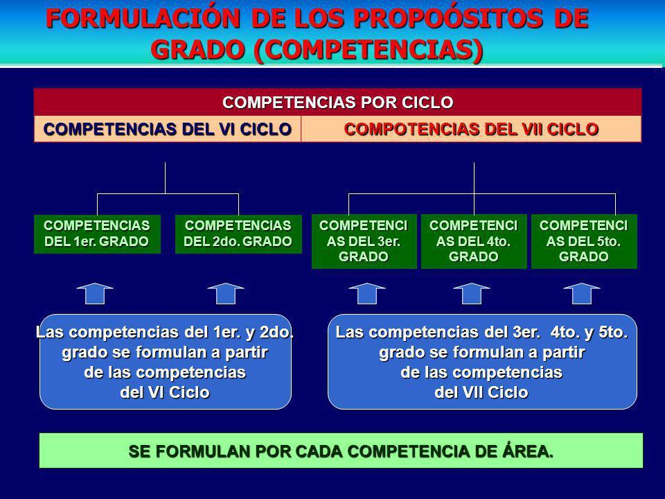 COMPETENCIAS POR CICLO COMPETENCIAS DEL VI CICLO COMPOTENCIAS DEL VII CICLO COMPETENCIAS DEL 1er.