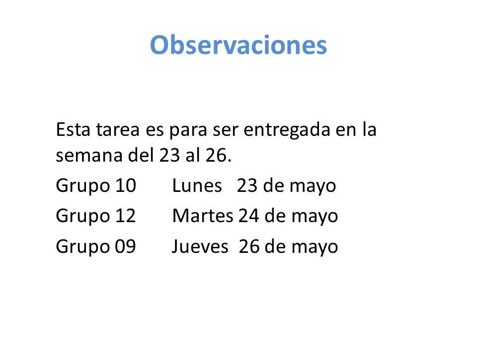 Observaciones Esta tarea es para ser entregada en la semana del 23 al 26. Grupo 10 Lunes 23 de mayo Grupo 12Martes 24 de mayo Grupo 09Jueves 26 de may