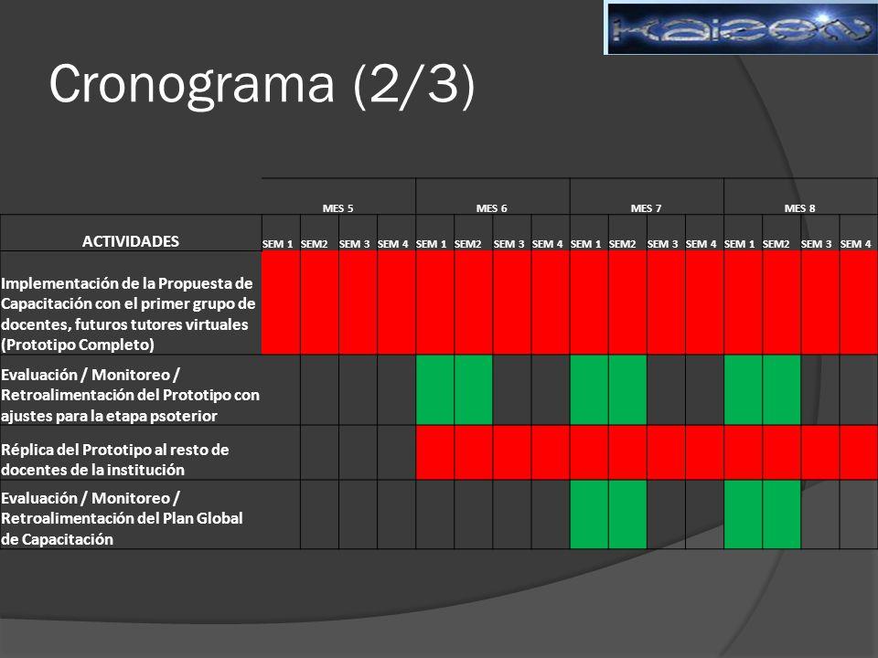 Cronograma (2/3) MES 5MES 6MES 7MES 8 ACTIVIDADES SEM 1SEM2SEM 3SEM 4SEM 1SEM2SEM 3SEM 4SEM 1SEM2SEM 3SEM 4SEM 1SEM2SEM 3SEM 4 Implementación de la Propuesta de Capacitación con el primer grupo de docentes, futuros tutores virtuales (Prototipo Completo) Evaluación / Monitoreo / Retroalimentación del Prototipo con ajustes para la etapa psoterior Réplica del Prototipo al resto de docentes de la institución Evaluación / Monitoreo / Retroalimentación del Plan Global de Capacitación