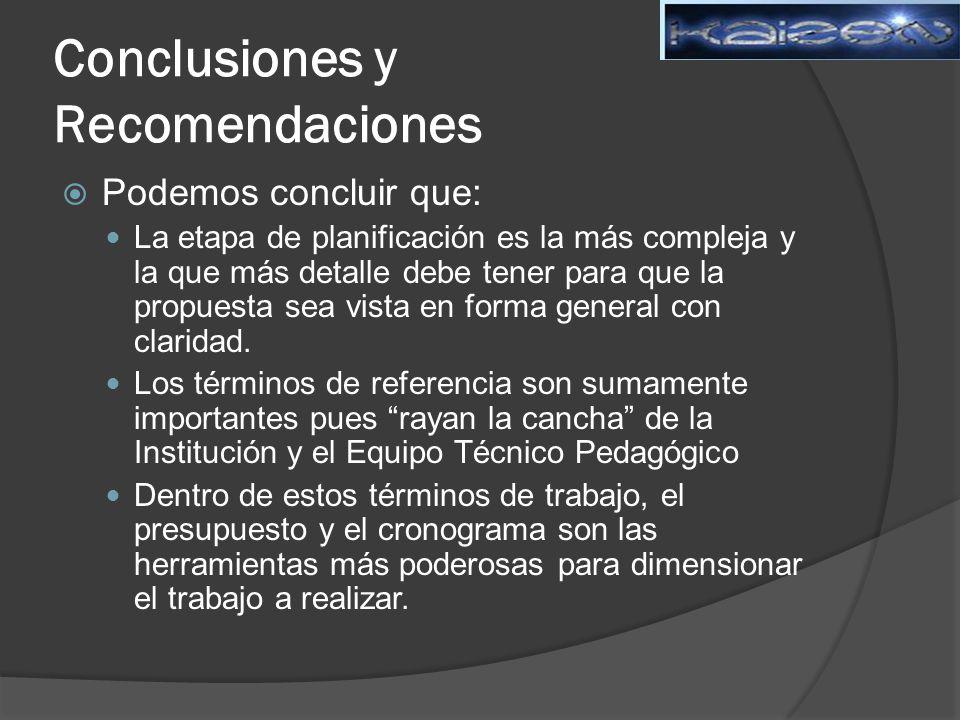 Conclusiones y Recomendaciones Podemos concluir que: La etapa de planificación es la más compleja y la que más detalle debe tener para que la propuesta sea vista en forma general con claridad.