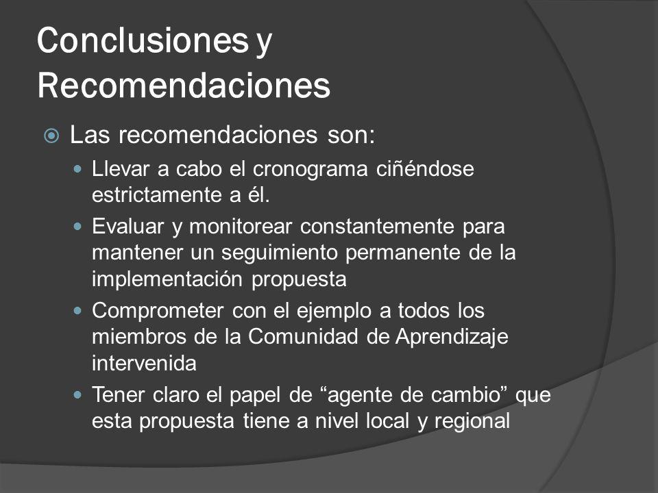 Conclusiones y Recomendaciones Las recomendaciones son: Llevar a cabo el cronograma ciñéndose estrictamente a él.