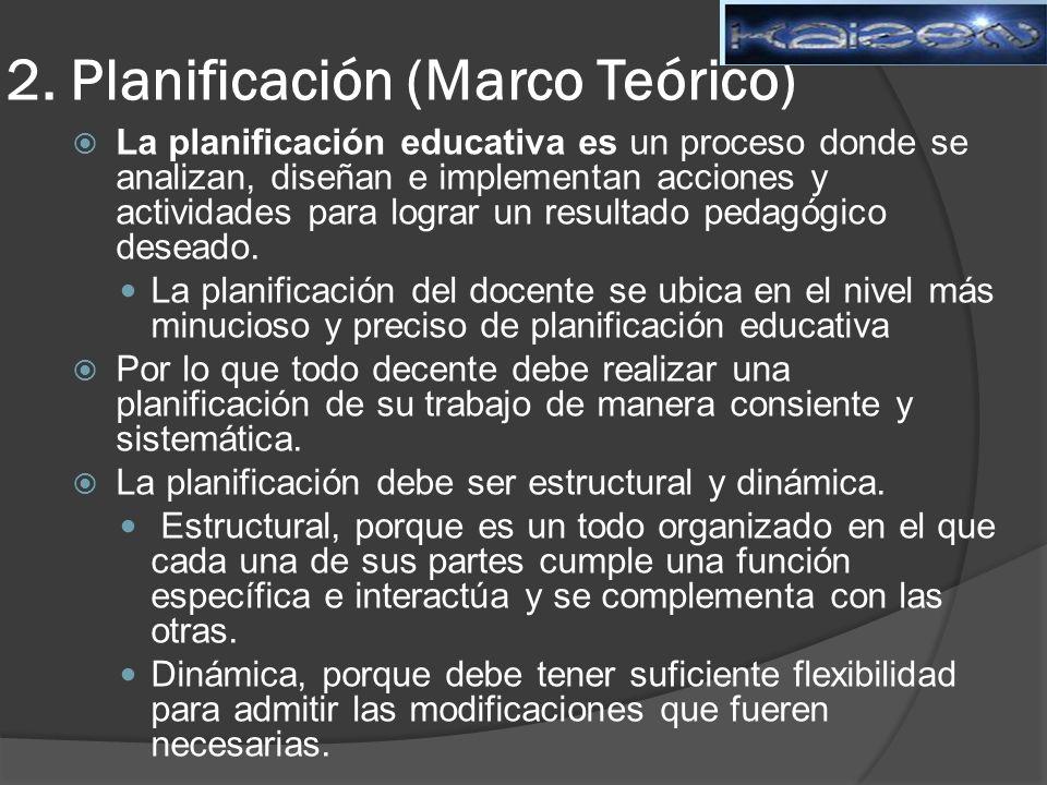 2. Planificación (Marco Teórico) La planificación educativa es un proceso donde se analizan, diseñan e implementan acciones y actividades para lograr