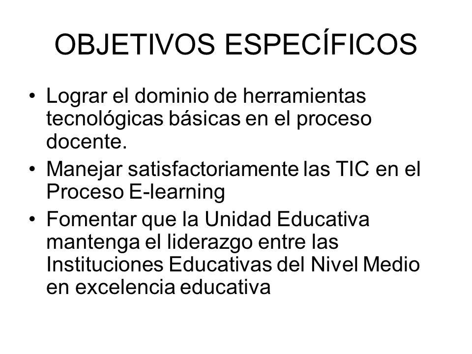 OBJETIVOS ESPECÍFICOS Lograr el dominio de herramientas tecnológicas básicas en el proceso docente.