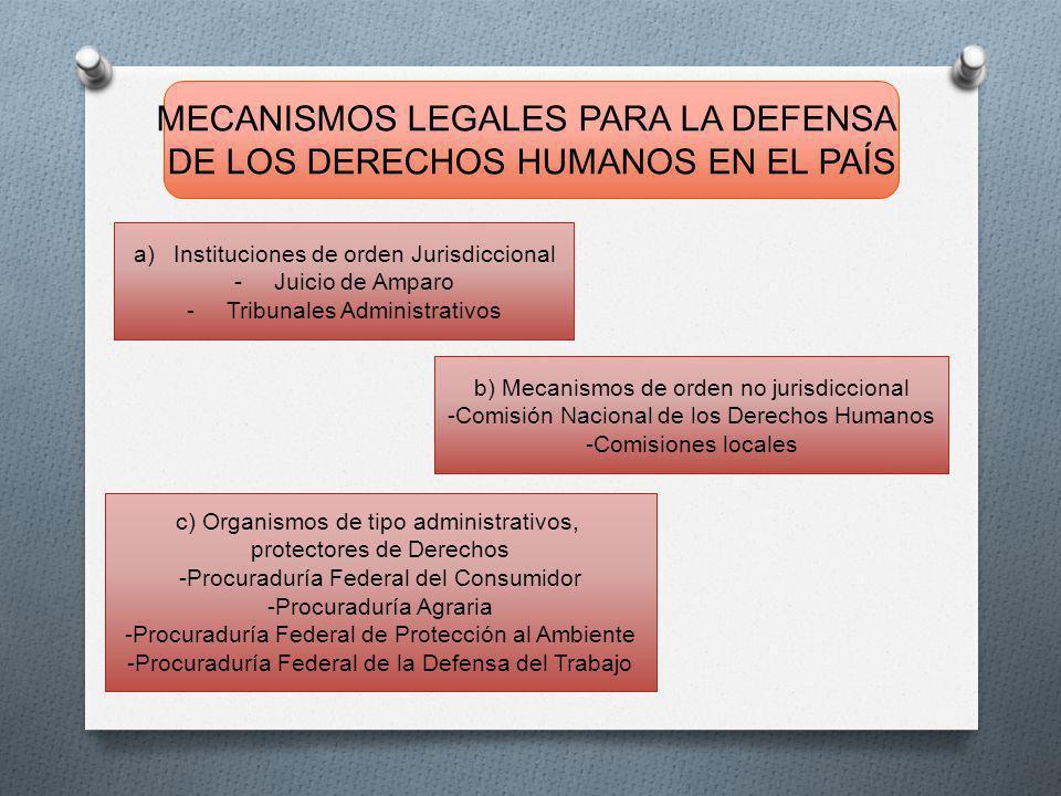 MECANISMOS LEGALES PARA LA DEFENSA DE LOS DERECHOS HUMANOS EN EL PAÍS a) Instituciones de orden Jurisdiccional - Juicio de Amparo - Tribunales Administrativos b) Mecanismos de orden no jurisdiccional - Comisión Nacional de los Derechos Humanos - Comisiones locales c) Organismos de tipo administrativos, protectores de Derechos - Procuraduría Federal del Consumidor - Procuraduría Agraria - Procuraduría Federal de Protección al Ambiente - Procuraduría Federal de la Defensa del Trabajo