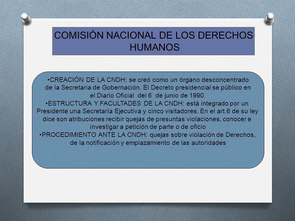 COMISIÓN NACIONAL DE LOS DERECHOS HUMANOS CREACIÓN DE LA CNDH: se creó como un órgano desconcentrado de la Secretaria de Gobernación. El Decreto presi