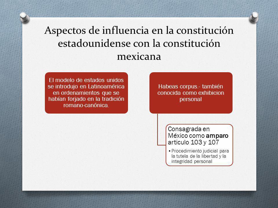 Aspectos de influencia en la constitución estadounidense con la constitución mexicana El modelo de estados unidos se introdujo en Latinoamérica en ordenamientos que se habían forjado en la tradición romano-canónica.