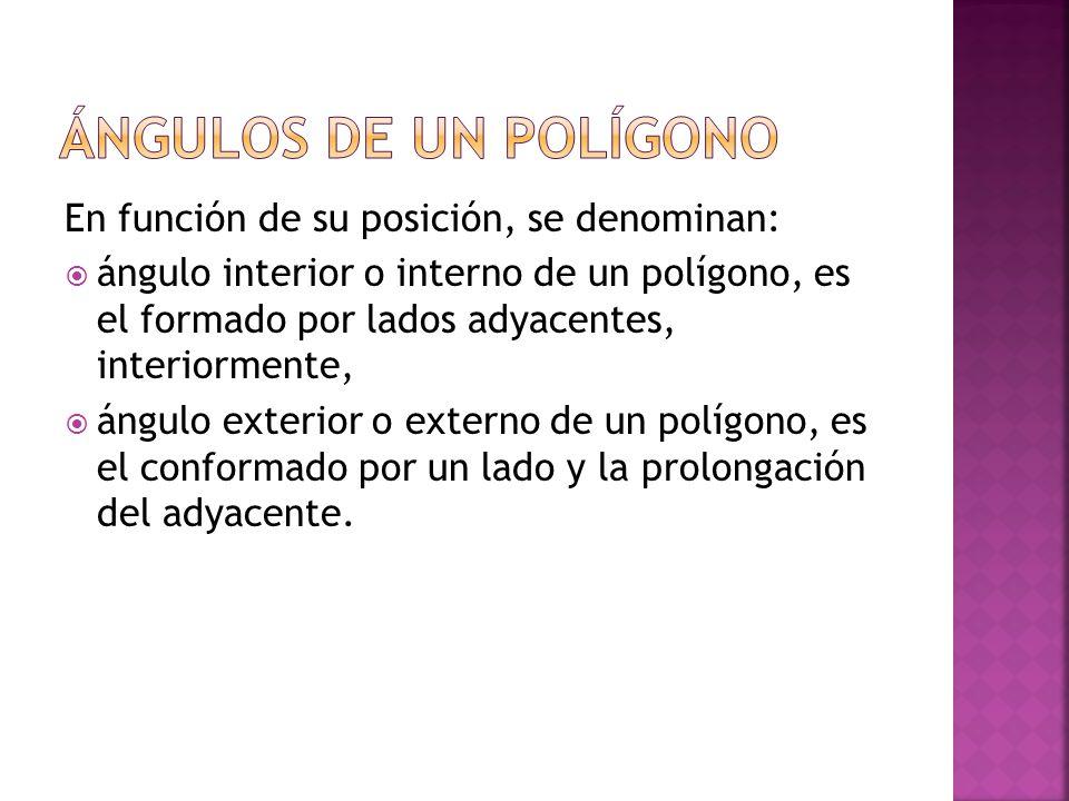 En función de su posición, se denominan: ángulo interior o interno de un polígono, es el formado por lados adyacentes, interiormente, ángulo exterior