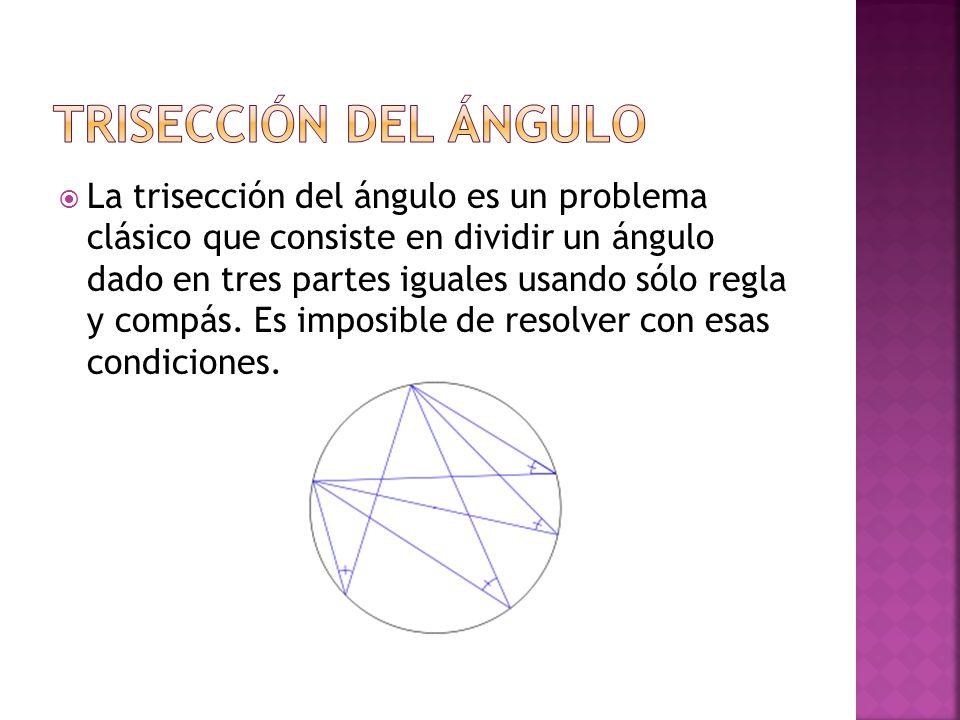 La trisección del ángulo es un problema clásico que consiste en dividir un ángulo dado en tres partes iguales usando sólo regla y compás. Es imposible