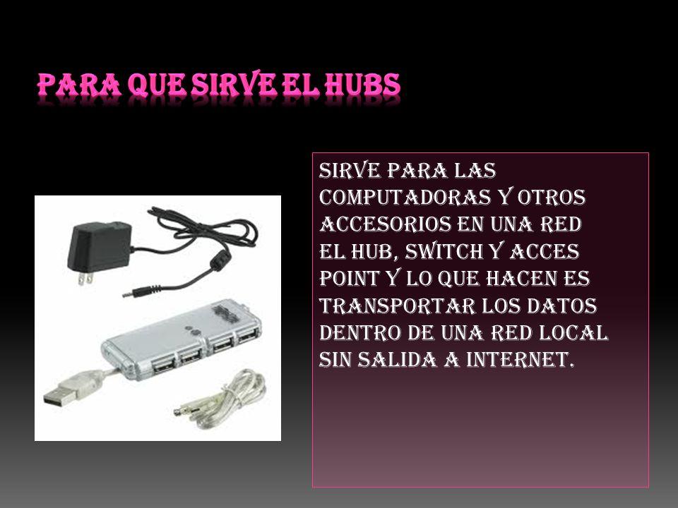 Sirve para las computadoras y otros accesorios en una red El hub, switch y acces point y lo que hacen es transportar los datos dentro de una red local