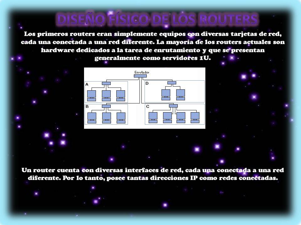 Los primeros routers eran simplemente equipos con diversas tarjetas de red, cada una conectada a una red diferente. La mayoría de los routers actuales