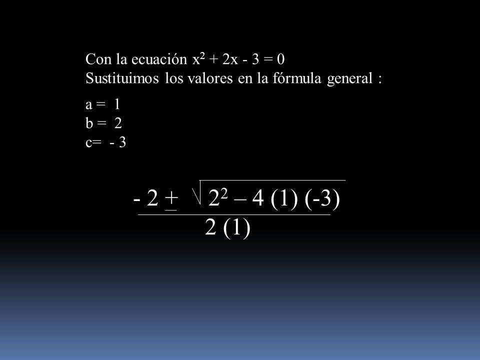 Con la ecuación x 2 + 2x - 3 = 0 Sustituimos los valores en la fórmula general : a = 1 b = 2 c= - 3 - 2 + 2 2 – 4 (1) (-3) 2 (1)