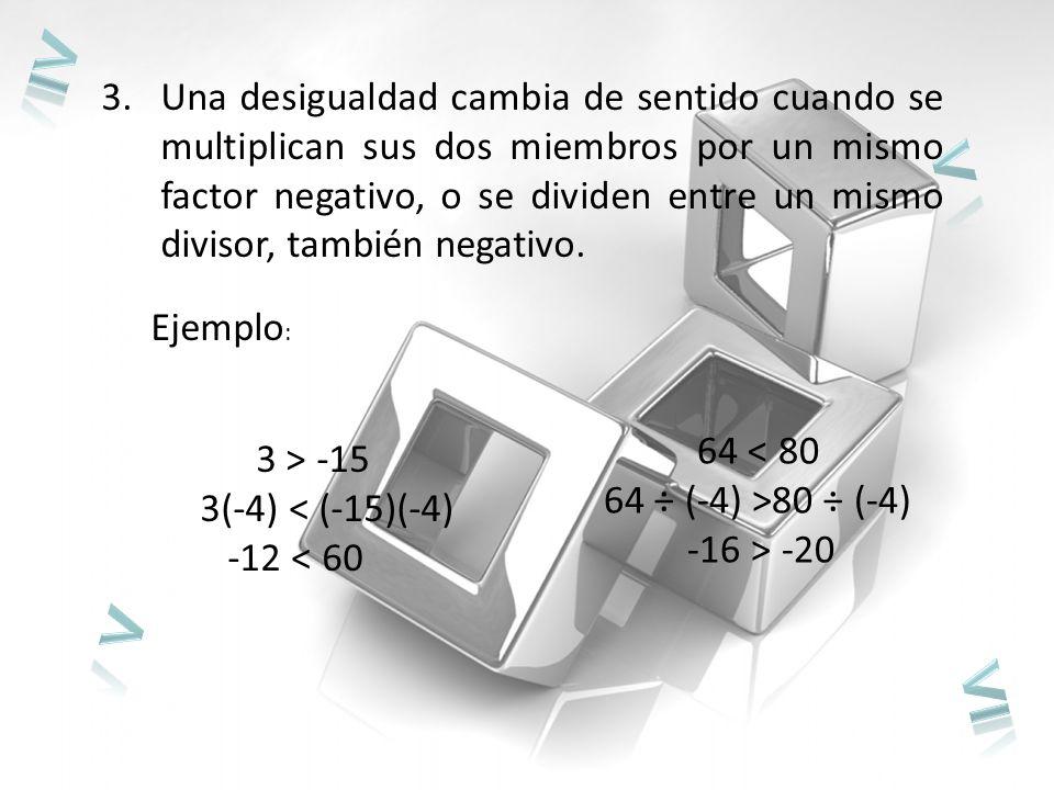3.Una desigualdad cambia de sentido cuando se multiplican sus dos miembros por un mismo factor negativo, o se dividen entre un mismo divisor, también negativo.