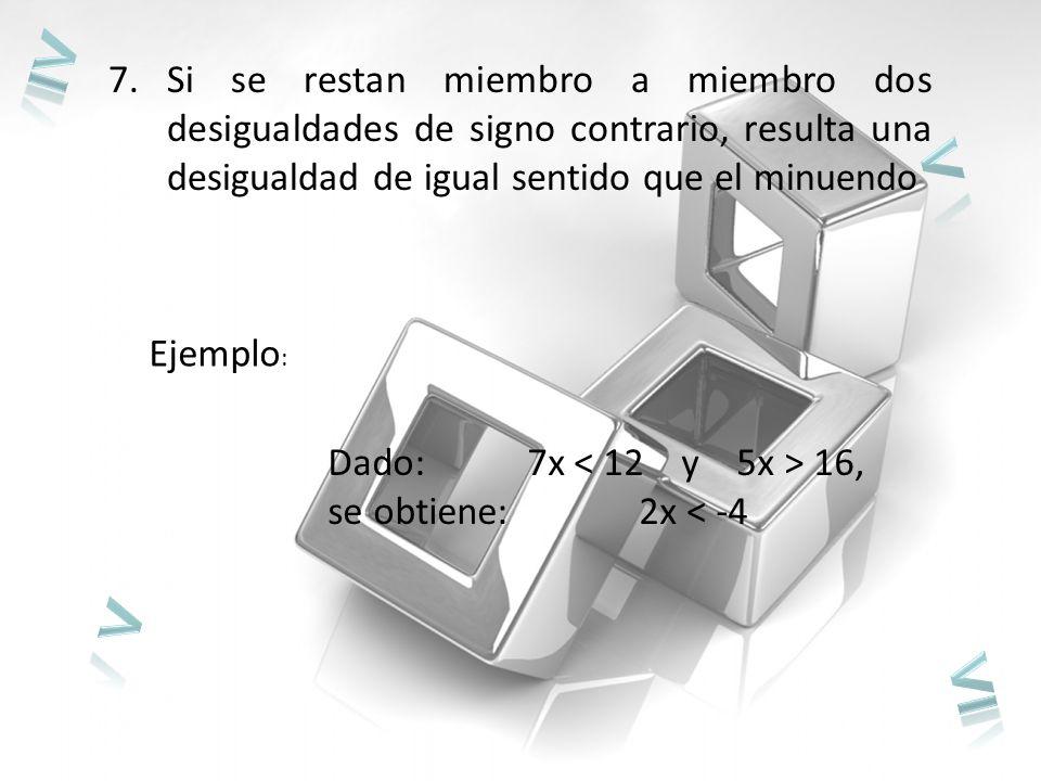 7.Si se restan miembro a miembro dos desigualdades de signo contrario, resulta una desigualdad de igual sentido que el minuendo Ejemplo : Dado: 7x 16, se obtiene: 2x < -4