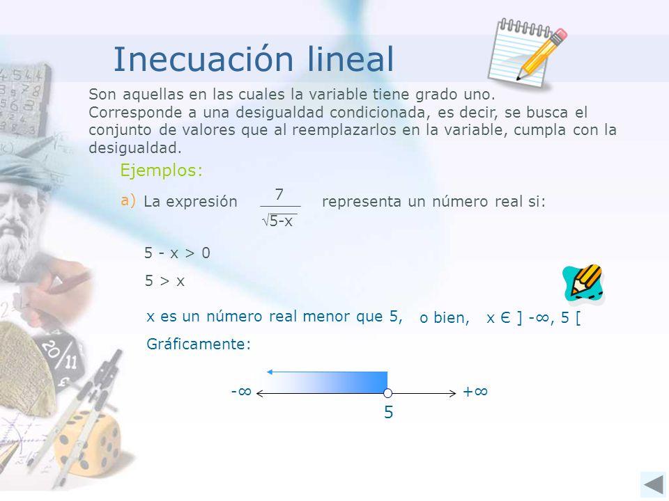 Inecuación lineal Son aquellas en las cuales la variable tiene grado uno.