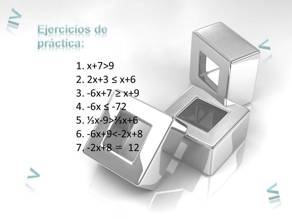 1.x+7>9 2.2x+3 x+6 3.-6x+7 x+9 4.-6x -72 5.x-9>x+6 6.-6x+9<-2x+8 7.-2x+8 12