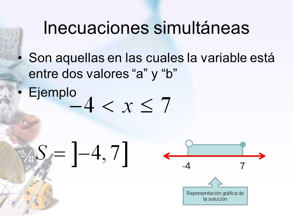 Inecuaciones simultáneas Son aquellas en las cuales la variable está entre dos valores a y b Ejemplo -4 7 Representación gráfica de la solución