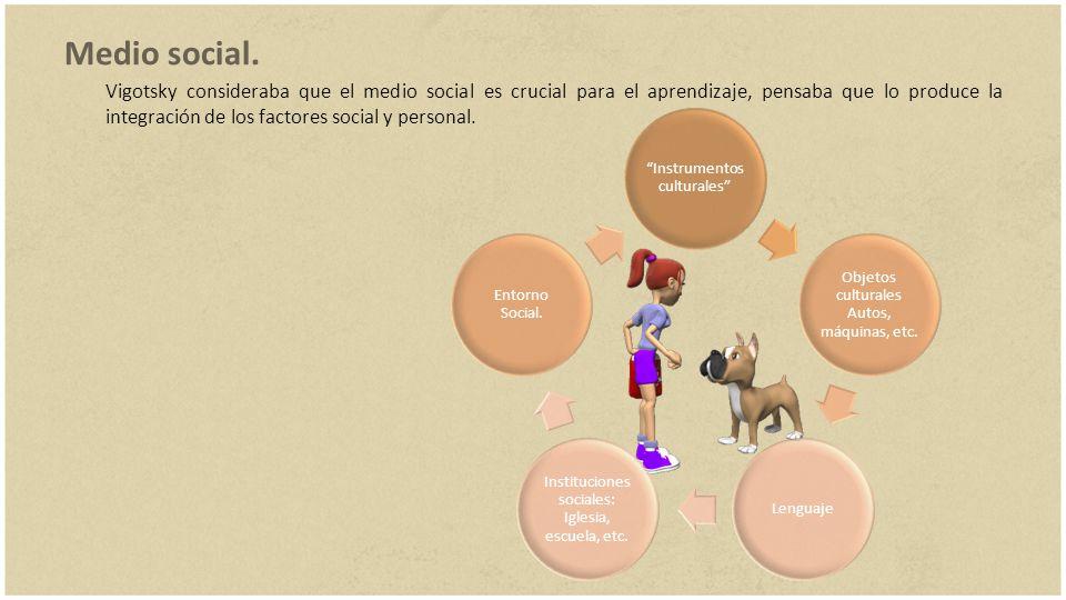 Medio social. Vigotsky consideraba que el medio social es crucial para el aprendizaje, pensaba que lo produce la integración de los factores social y