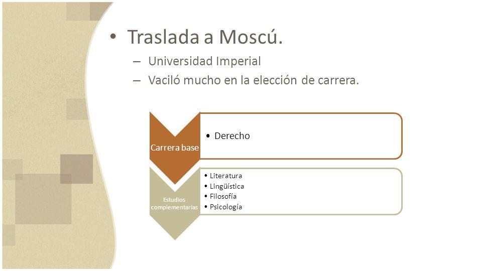 Traslada a Moscú. – Universidad Imperial – Vaciló mucho en la elección de carrera. Carrera base Derecho Estudios complementarias Literatura Lingüístic