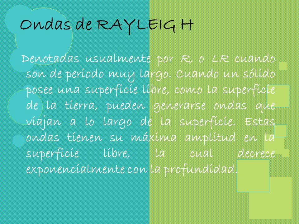 Ondas de RAYLEIG H Denotadas usualmente por R, o LR cuando son de periodo muy largo.