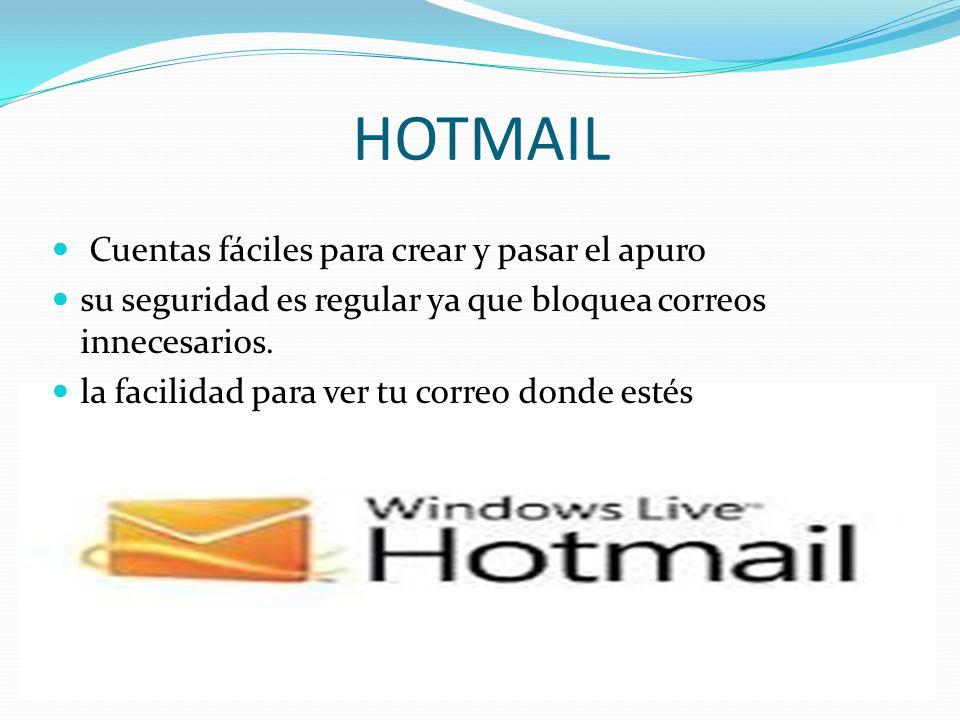 HOTMAIL Cuentas fáciles para crear y pasar el apuro su seguridad es regular ya que bloquea correos innecesarios.