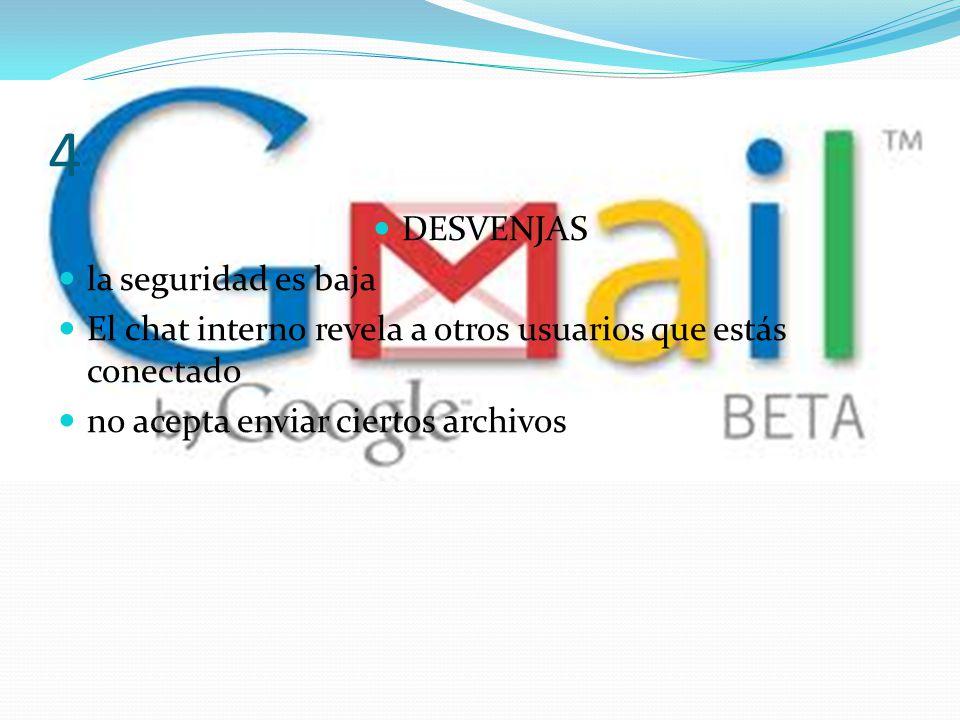 GMAIL VENTAJAS Fácil de crear una cuenta Rapidez al enviar un correo con archivos adjuntos gran capacidad para almacenar archivos sobrepasa el Hotmail.