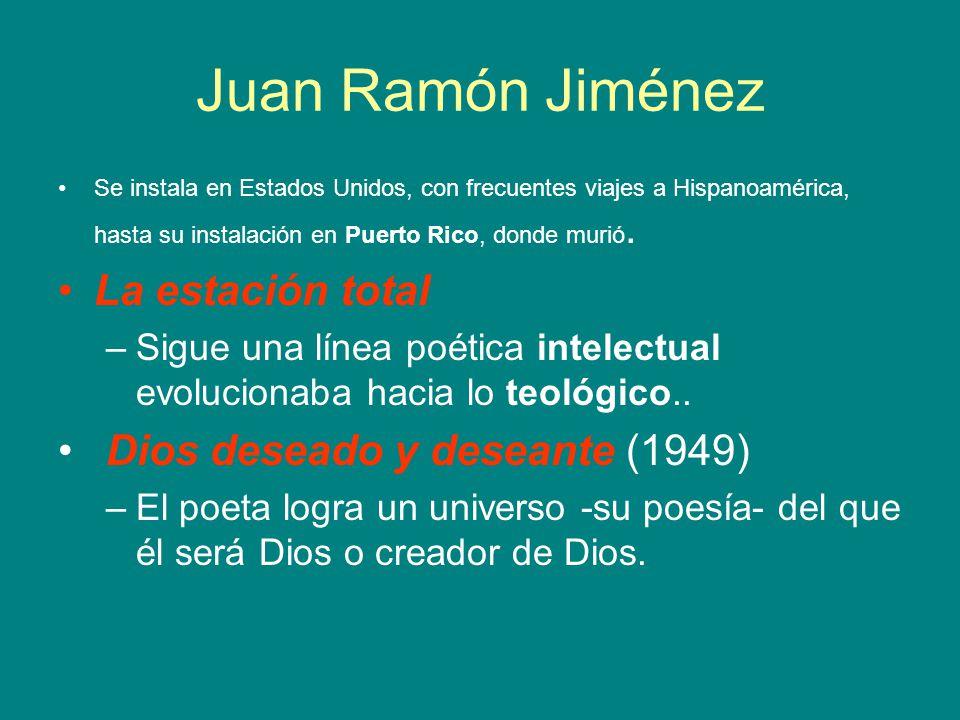 Juan Ramón Jiménez Se instala en Estados Unidos, con frecuentes viajes a Hispanoamérica, hasta su instalación en Puerto Rico, donde murió. La estación