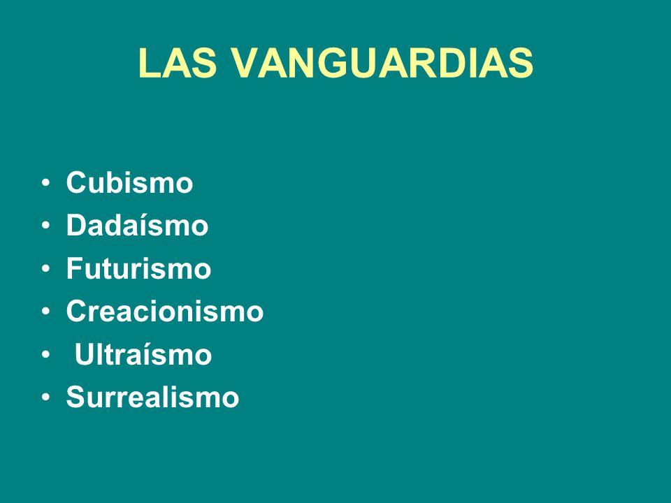 LAS VANGUARDIAS Cubismo Dadaísmo Futurismo Creacionismo Ultraísmo Surrealismo