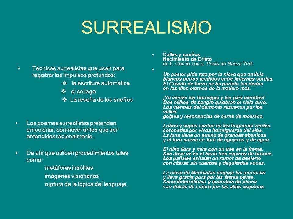 SURREALISMO Técnicas surrealistas que usan para registrar los impulsos profundos: la escritura automática el collage La reseña de los sueños Los poema