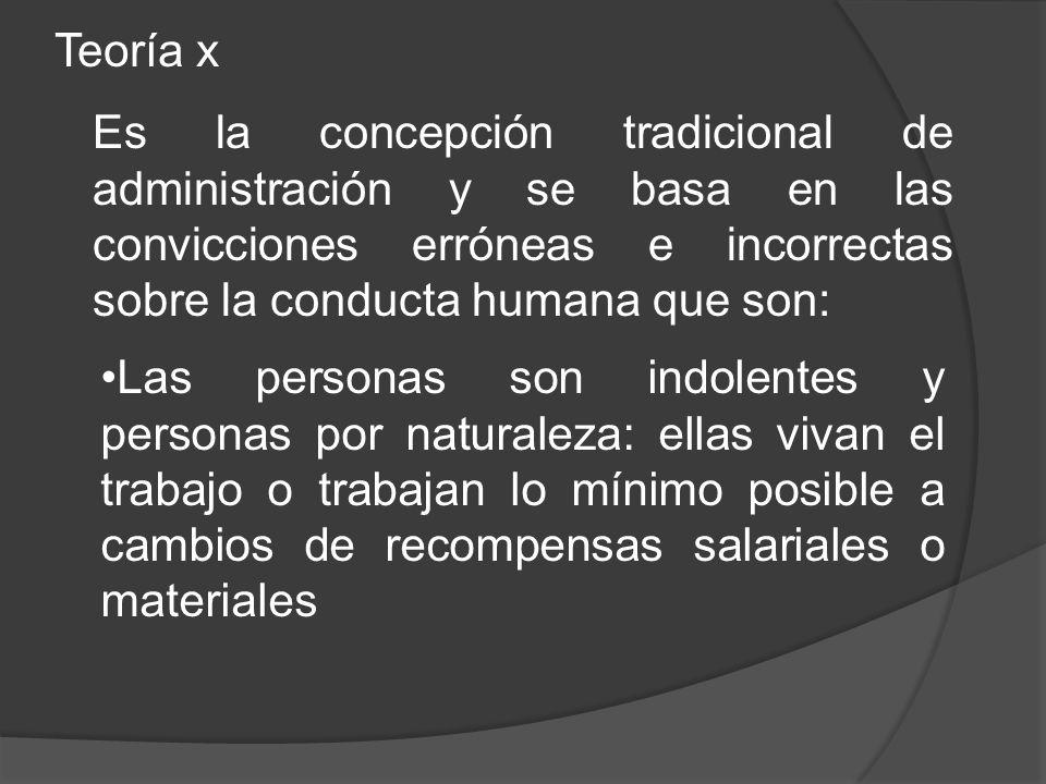 Teoría x Es la concepción tradicional de administración y se basa en las convicciones erróneas e incorrectas sobre la conducta humana que son: Las per