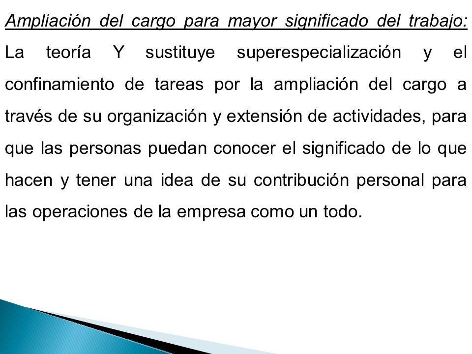 Ampliación del cargo para mayor significado del trabajo: La teoría Y sustituye superespecialización y el confinamiento de tareas por la ampliación del