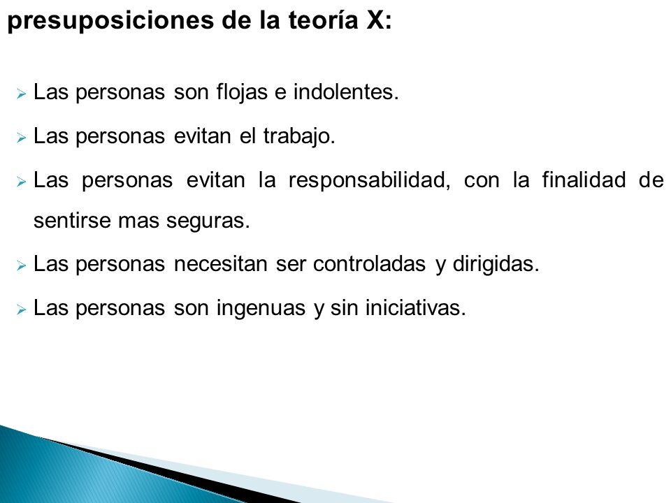 presuposiciones de la teoría X: Las personas son flojas e indolentes. Las personas evitan el trabajo. Las personas evitan la responsabilidad, con la f