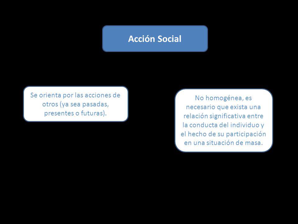 Acción Social No homogénea, es necesario que exista una relación significativa entre la conducta del individuo y el hecho de su participación en una situación de masa.