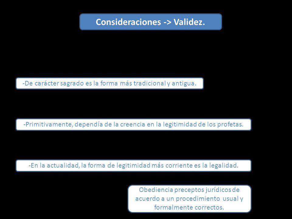 Consideraciones -> Validez.-De carácter sagrado es la forma más tradicional y antigua.