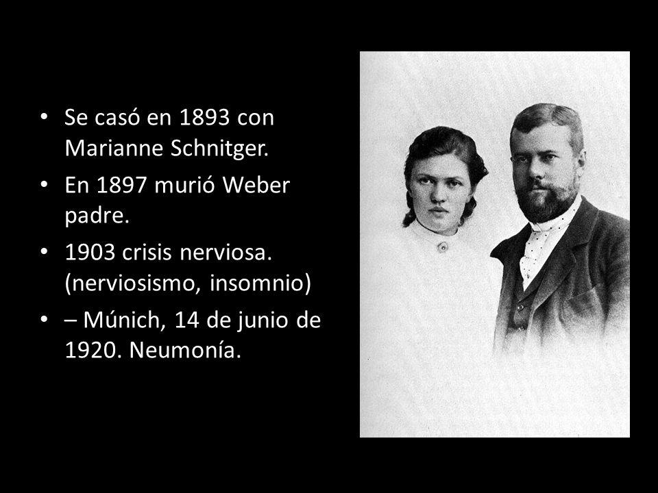 Se casó en 1893 con Marianne Schnitger.En 1897 murió Weber padre.