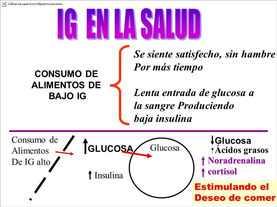 CONSUMO DE ALIMENTOS DE BAJO IG Se siente satisfecho, sin hambre Por más tiempo Lenta entrada de glucosa a la sangre Produciendo baja insulina Consumo de Alimentos De IG alto GLUCOSA Insulina Glucosa Noradrenalinacortisol Estimulando el Deseo de comer Ácidos grasos