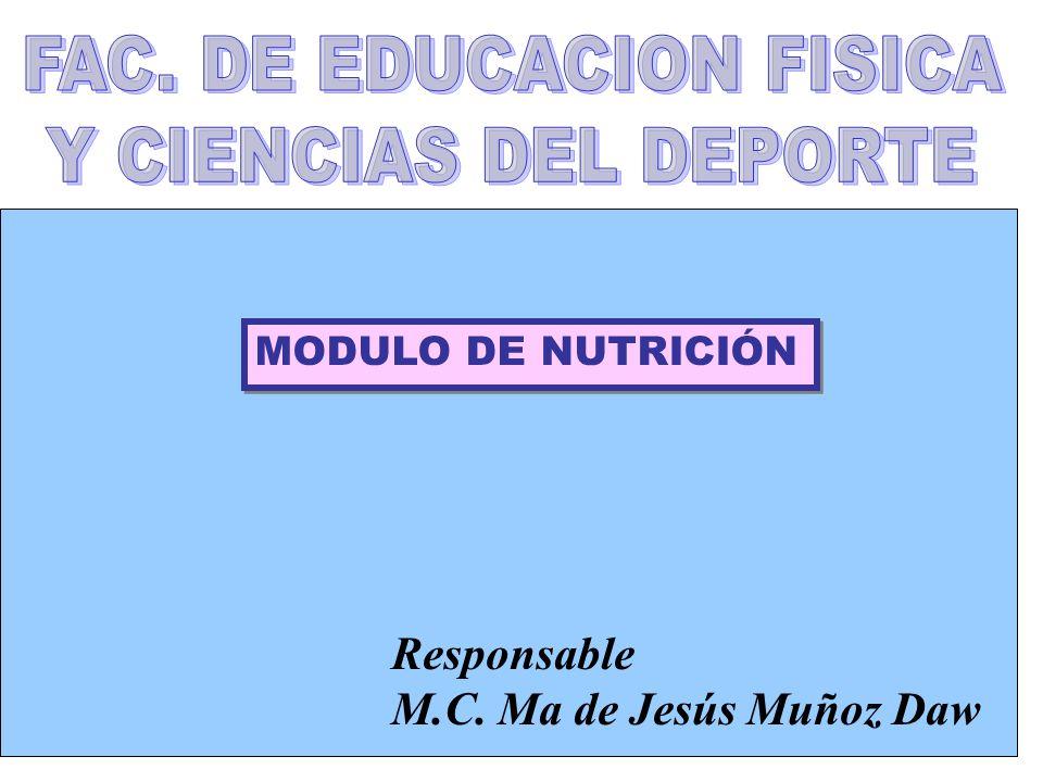 MODULO DE NUTRICIÓN Responsable M.C. Ma de Jesús Muñoz Daw