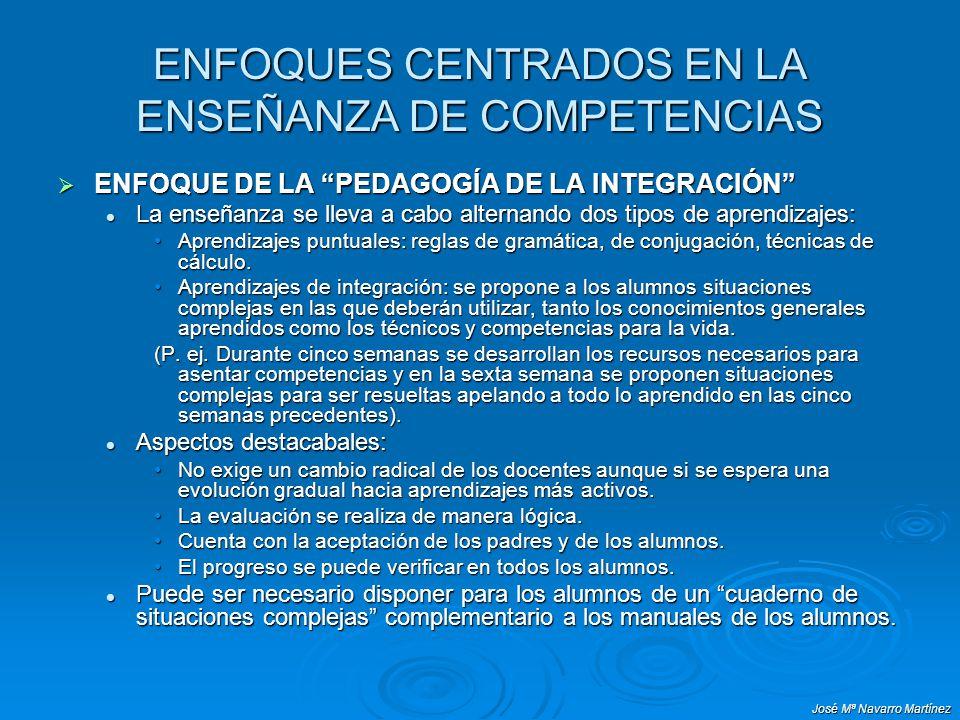 José Mª Navarro Martínez ENFOQUES CENTRADOS EN LA ENSEÑANZA DE COMPETENCIAS ENFOQUE DE LA PEDAGOGÍA DE LA INTEGRACIÓN ENFOQUE DE LA PEDAGOGÍA DE LA IN