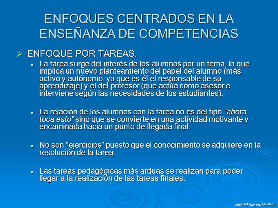 José Mª Navarro Martínez ENFOQUES CENTRADOS EN LA ENSEÑANZA DE COMPETENCIAS ENFOQUE POR TAREAS. ENFOQUE POR TAREAS. La tarea surge del interés de los