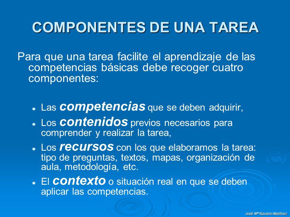 José Mª Navarro Martínez COMPONENTES DE UNA TAREA Para que una tarea facilite el aprendizaje de las competencias básicas debe recoger cuatro component