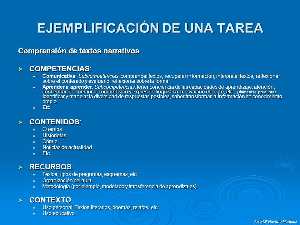 José Mª Navarro Martínez EJEMPLIFICACIÓN DE UNA TAREA Comprensión de textos narrativos COMPETENCIAS: COMPETENCIAS: Comunicativa. Subcompetencias: comp