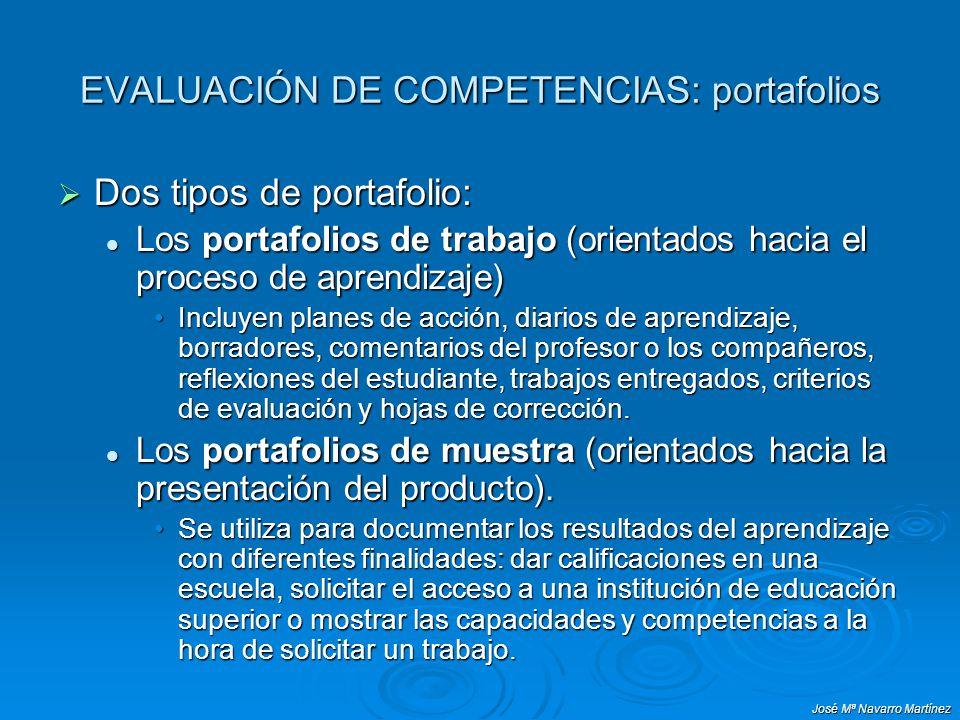José Mª Navarro Martínez EVALUACIÓN DE COMPETENCIAS: portafolios Dos tipos de portafolio: Dos tipos de portafolio: Los portafolios de trabajo (orienta