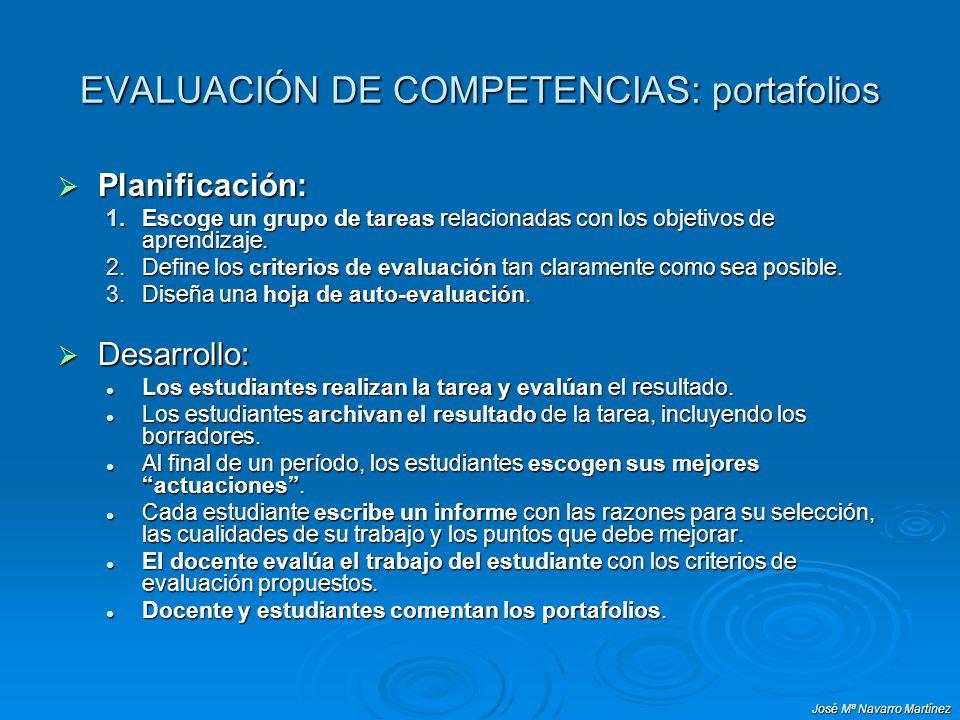 José Mª Navarro Martínez EVALUACIÓN DE COMPETENCIAS: portafolios Planificación: Planificación: 1.Escoge un grupo de tareas relacionadas con los objeti