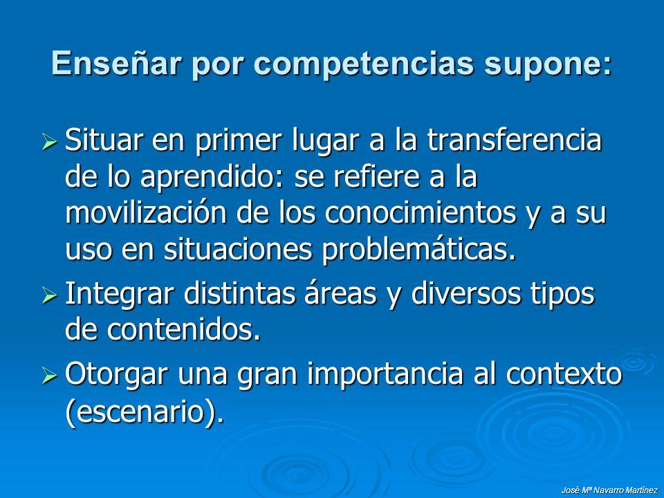 José Mª Navarro Martínez ENFOQUES CENTRADOS EN LA ENSEÑANZA DE COMPETENCIAS Características de las tareas: Características de las tareas: Son representativas de procesos de la vida real.