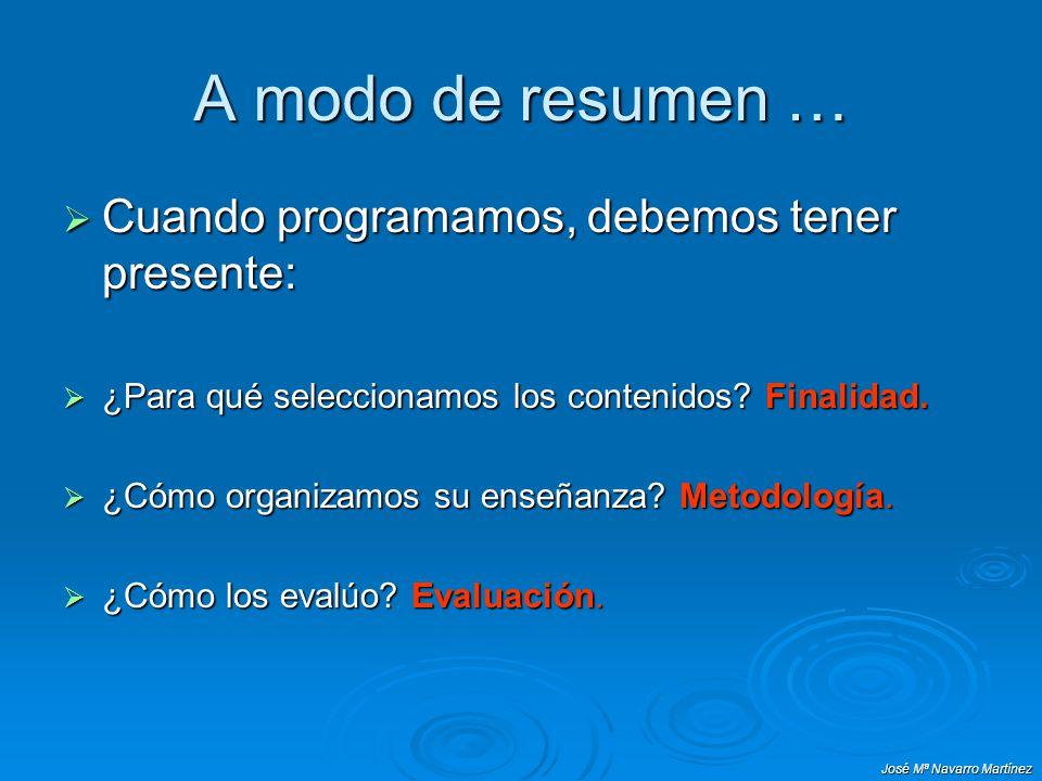 José Mª Navarro Martínez A modo de resumen … Cuando programamos, debemos tener presente: Cuando programamos, debemos tener presente: ¿Para qué selecci