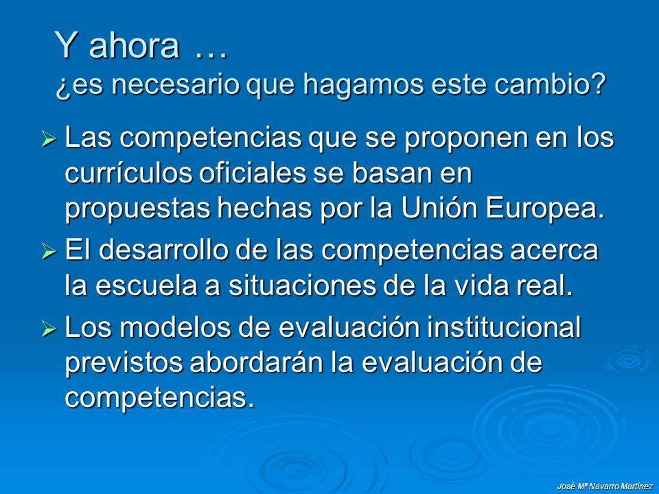 José Mª Navarro Martínez Y ahora … ¿es necesario que hagamos este cambio? Las competencias que se proponen en los currículos oficiales se basan en pro